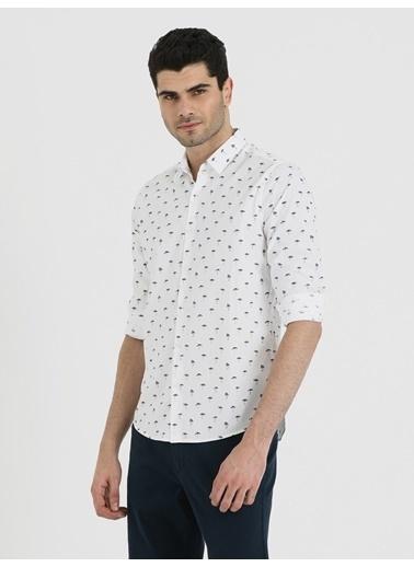 Loft Desenli Gömlek Beyaz